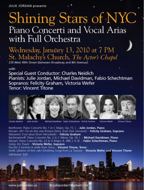 Julie Jordan Presents Shining Stars in NYC, January 13, 2010